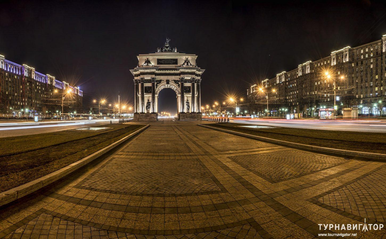 фотография подсветки Московской Триумфальной арки