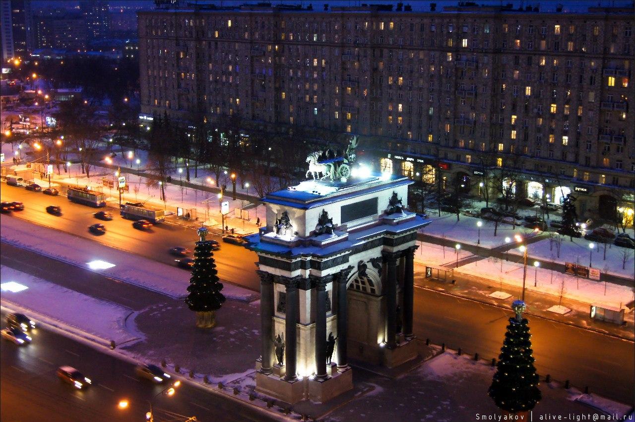 московские Триумфальные ворота вид сверху фото