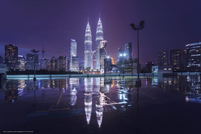 вид на башни-близнецы в Куала-Лумпуре ночью фотография