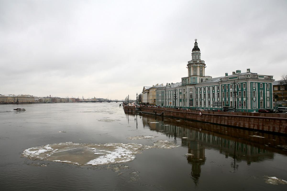 Дворцовый мост и вид на Кунсткамеру фото