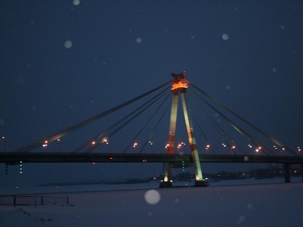 Череповецкий Октябрьский мост ночью фото