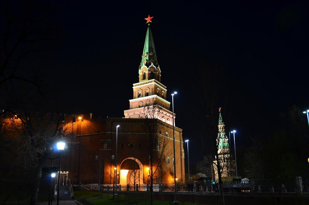 вид на башни Кремля ночью (Боровицкая) фотография