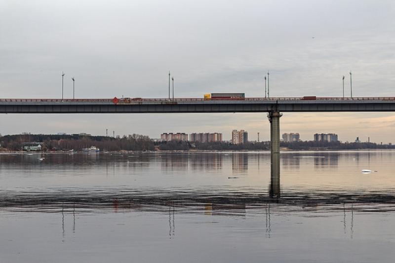 фото вида из Невы на Ладожский мост