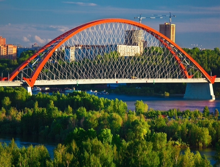 фото вида сбоку на Бугринский мост