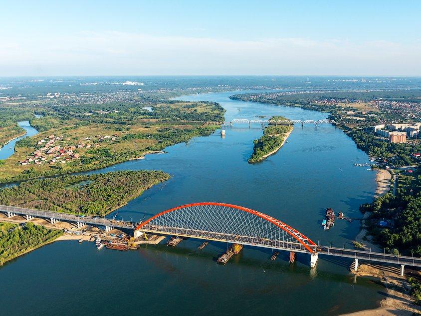 Бугринский мост вид сверху фотография