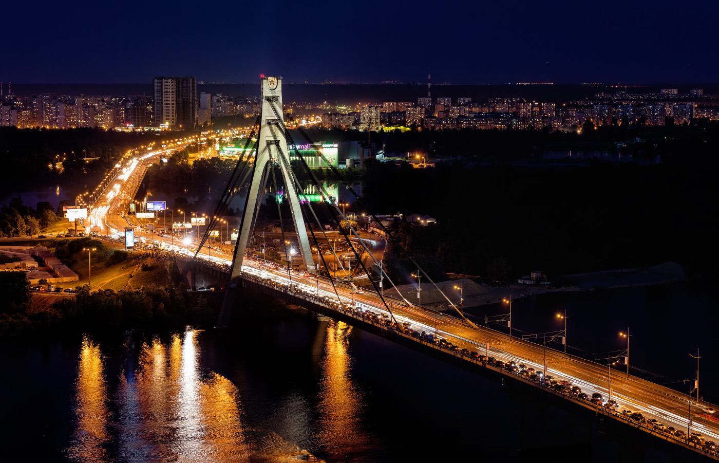 вечерний Московский мост в Киеве фотография