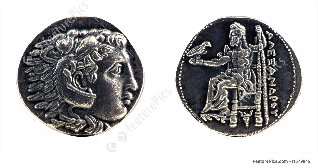 изображение статуи Зевса в Олимпии на монете фото