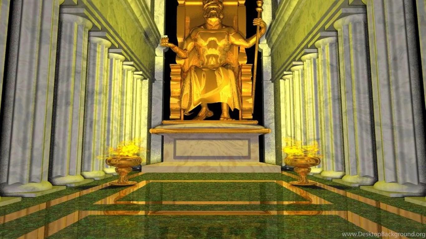 реконструкция интерьера Храма Зевса и статуи Зевса