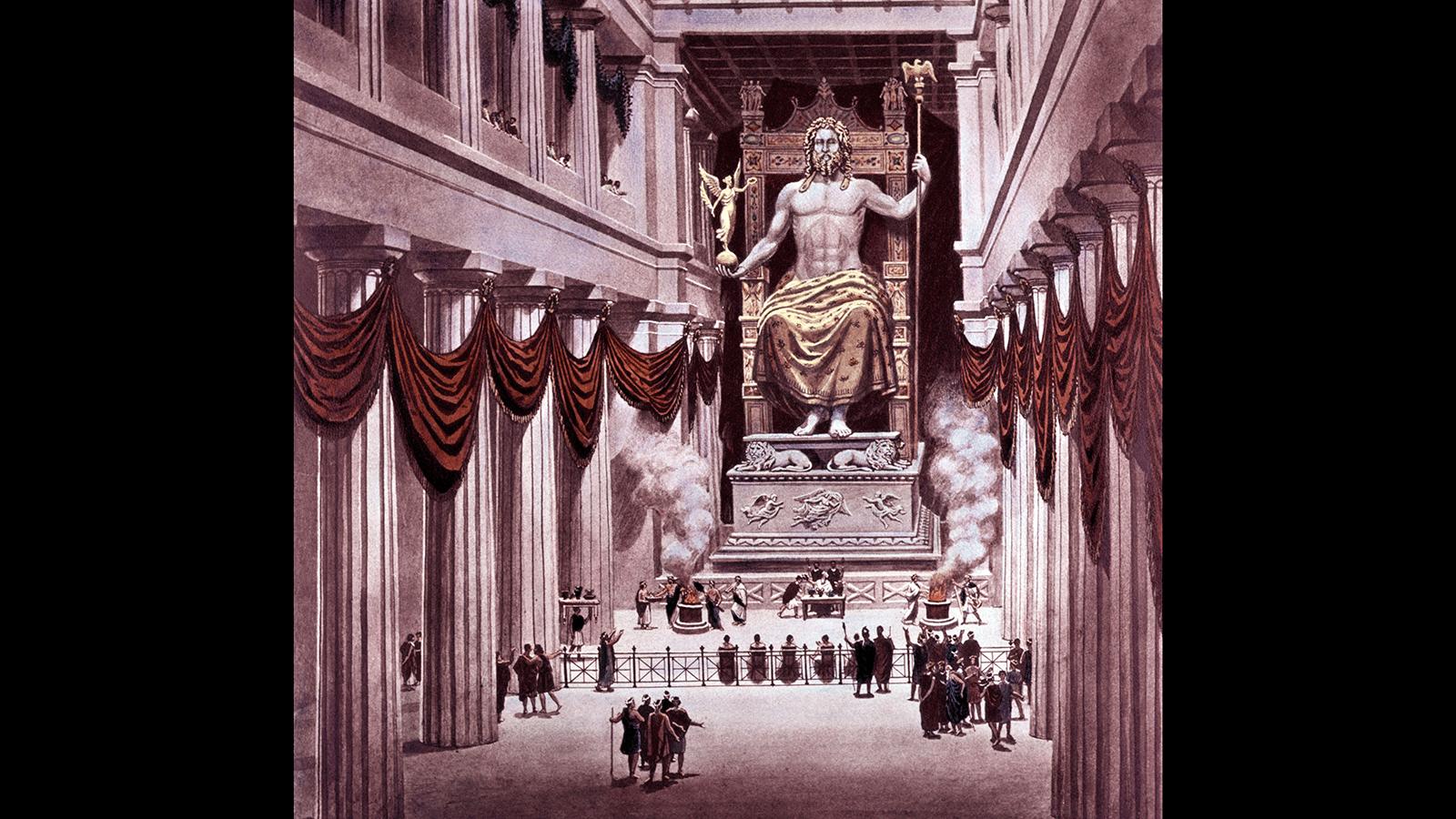 оформление статуи Зевса в Олимпии