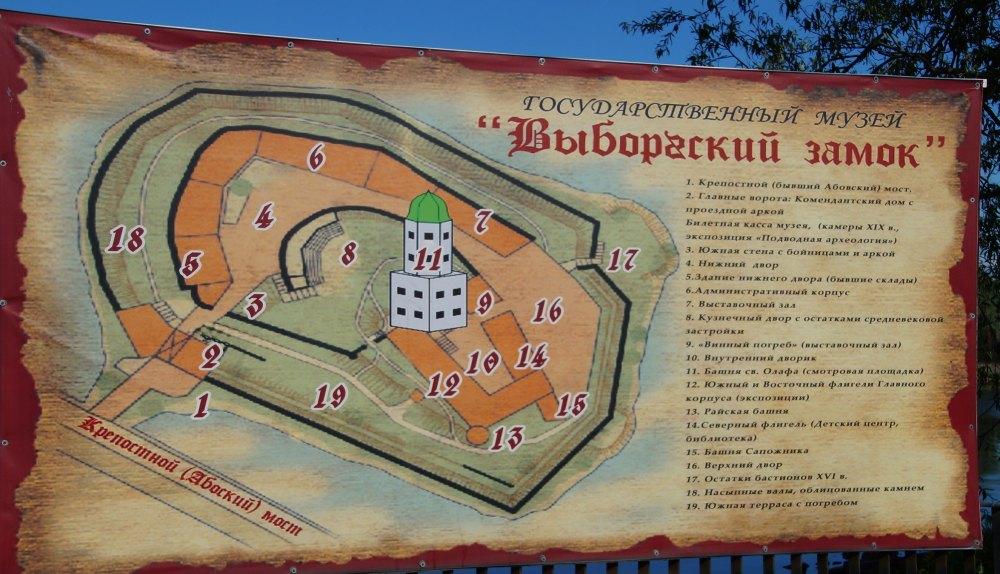 Схема крепости для туристов