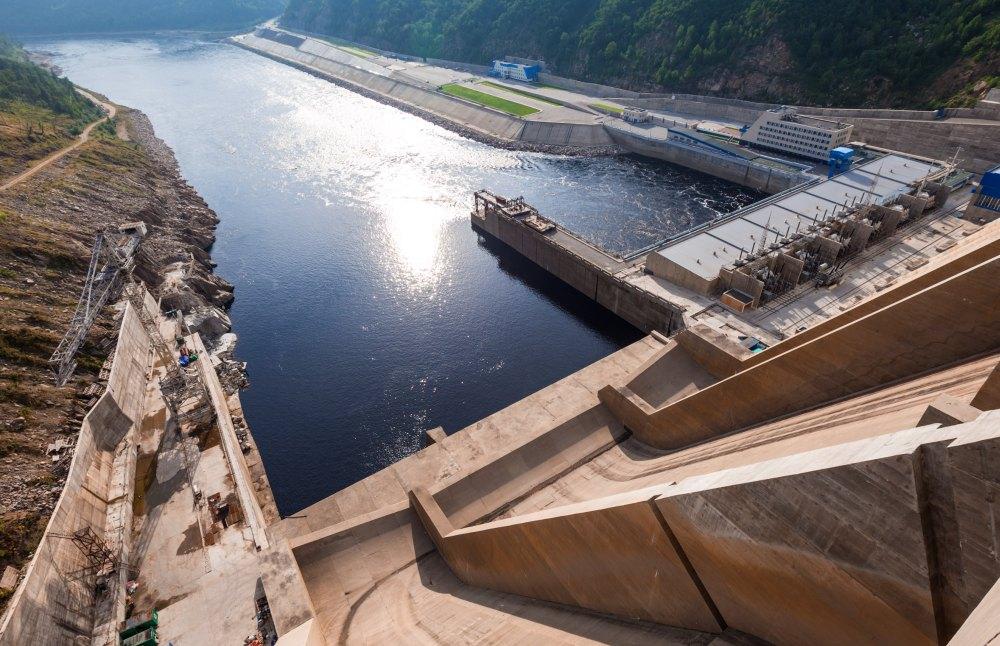 Вид на Бурейскую ГЭС сверху
