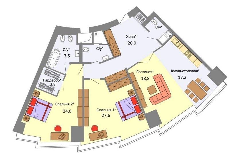 Планировка аппартаментов