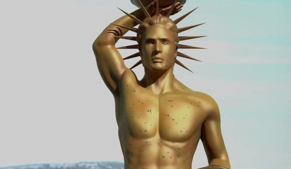 Скульптура изображала красивого юношу