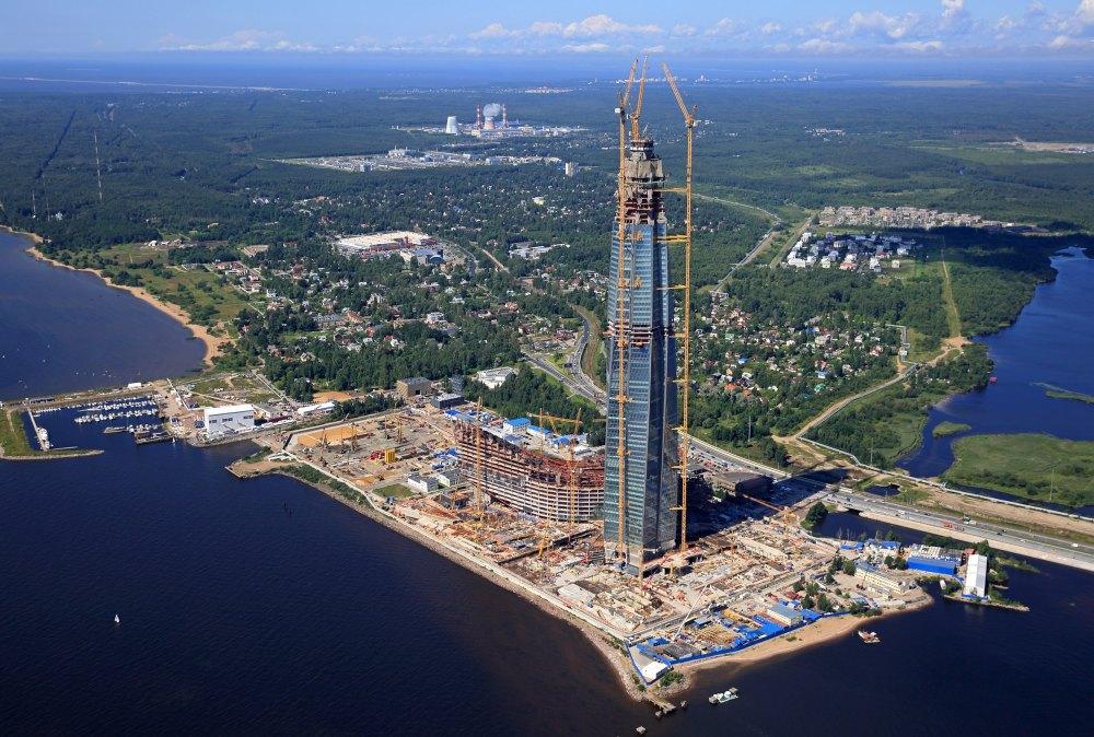 Строительство башни Газпрома