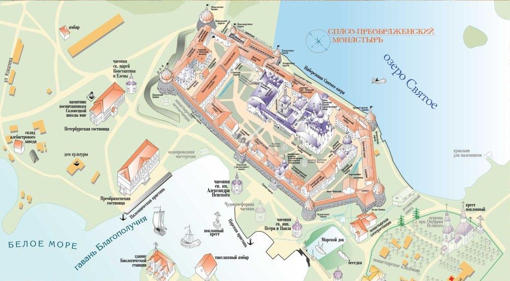 Соловецкий монастырь, план-схема