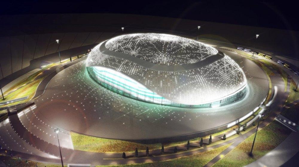 Стадион подсвечивают 38 000 лампочек