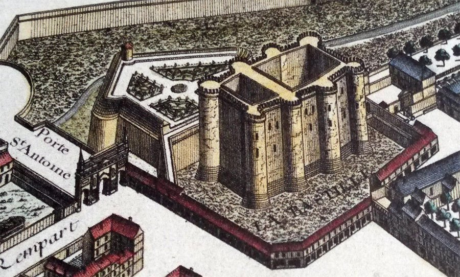 Тюрьма на старинной карте Парижа