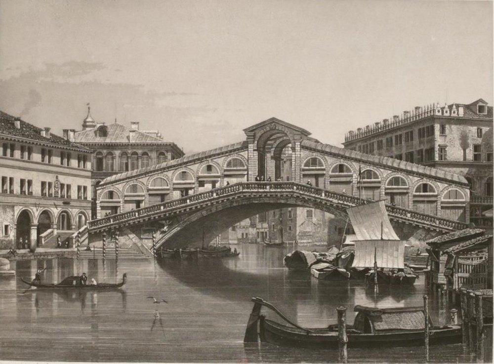 Мост построен в оживленном месте, ретро