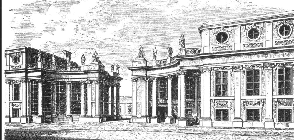 Дворец Монбижу в золотые времена, гравюра
